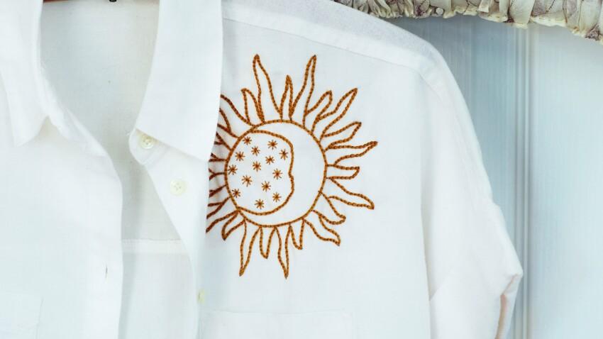 DIY : une chemise brodée avec la lune, le soleil et les étoiles