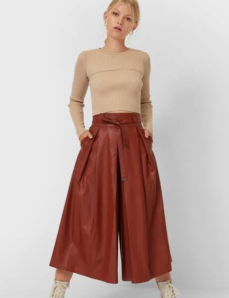 Pantalon en cuir : la jupe-culotte fauve