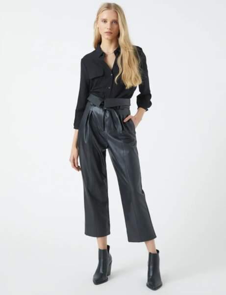 Pantalon en cuir : le paperbag court