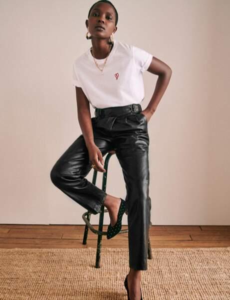 Pantalon en cuir : le taille haute noir