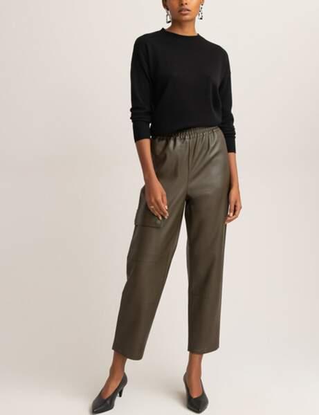 Pantalon en cuir : le jogger kaki