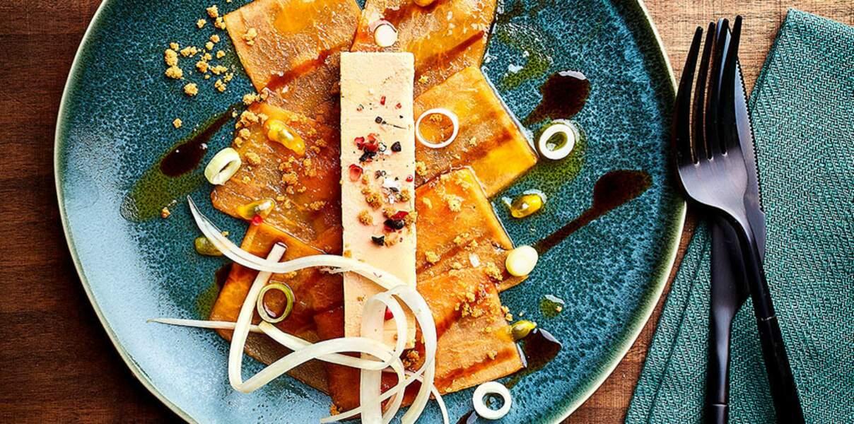 Poissons : du foie gras sur carpaccio de papaye pour Noël