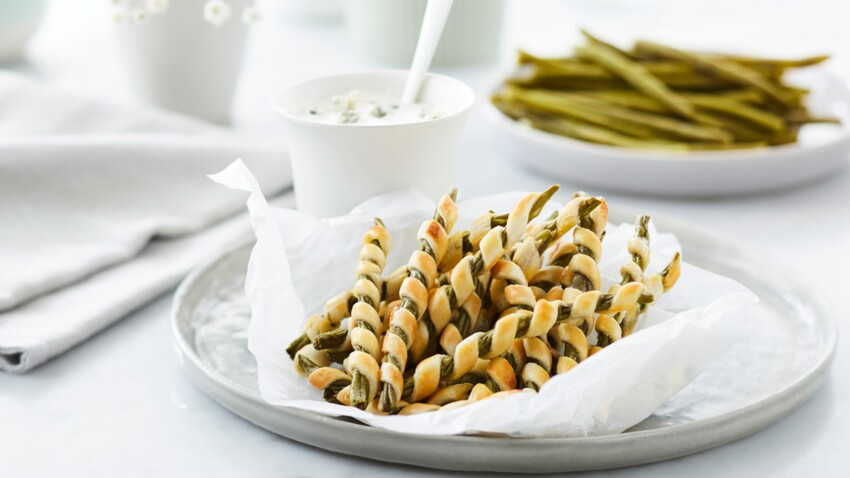 Fingers de haricots verts et sauce roquefort