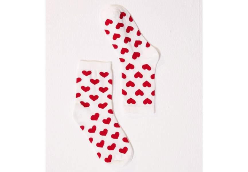Des chaussettes coeurs