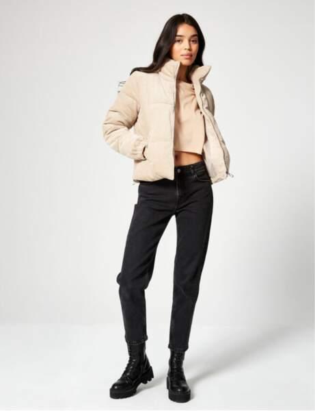 Manteau matelassé : en maille côtelé