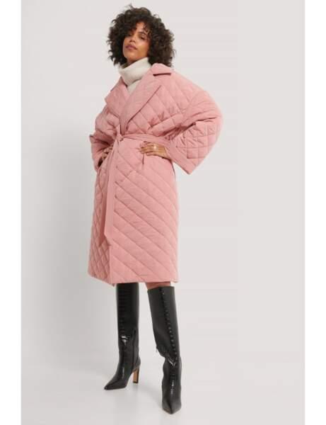 Manteau matelassé : rose
