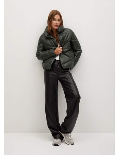 Manteau matelassé : en cuir