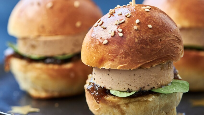 Mini burgers au foie gras et chutney de figues