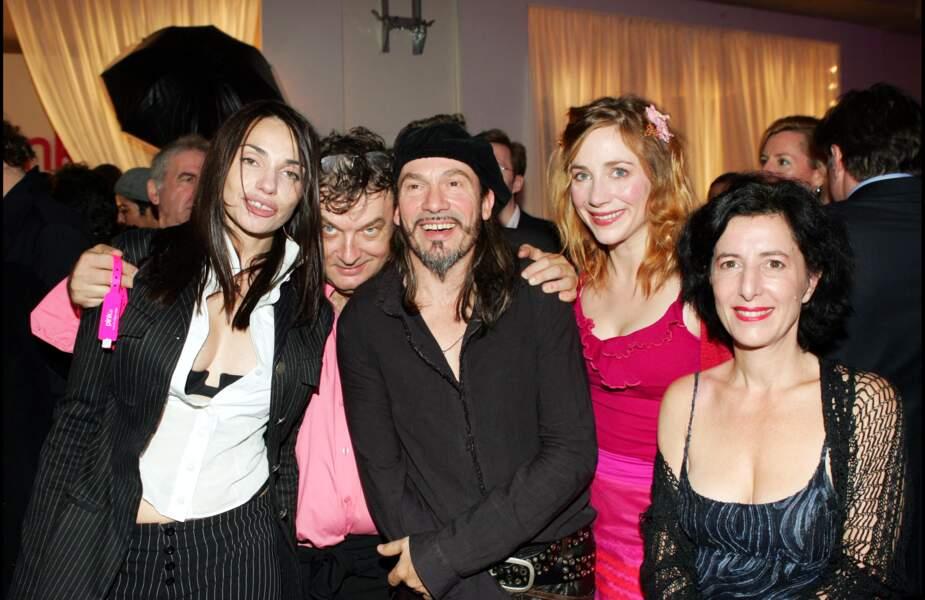 Béatrice Dalle et Florent Pagny avec l'agent artistique Dominique Besnehard