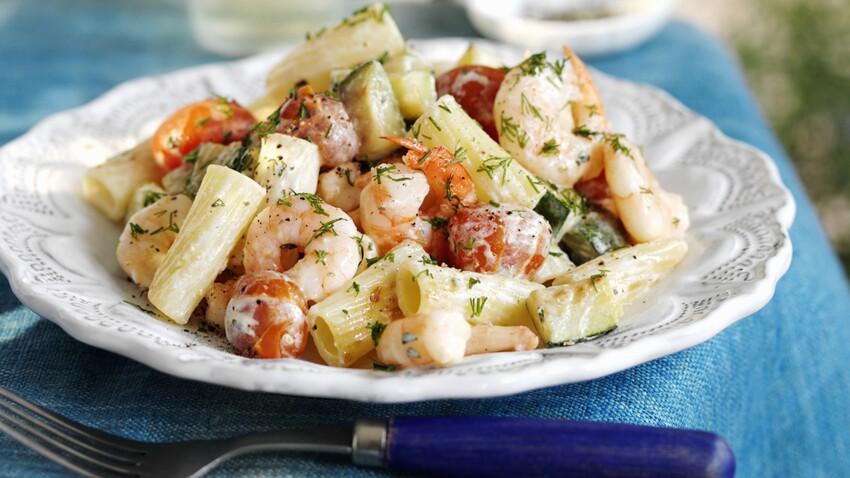 Rigatoni aux crevettes et tomates cerises poêlées