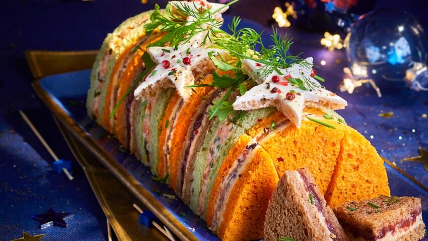 Bûche salée surprise saumon-jambon-foie gras