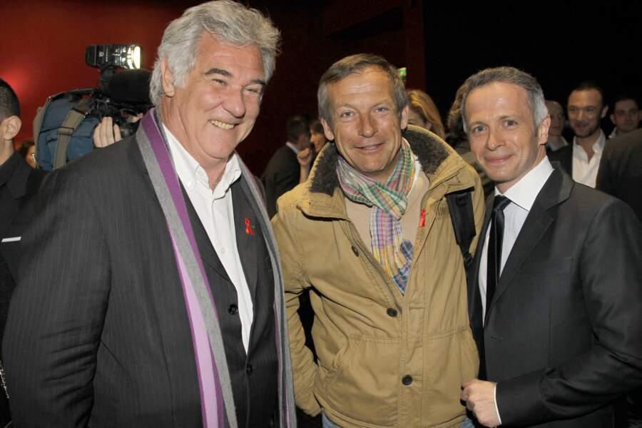 Georges Pernoud avec Laurent Bignolas et Samuel Etienne, lors du lancement de l'édition Sidaction 2012...