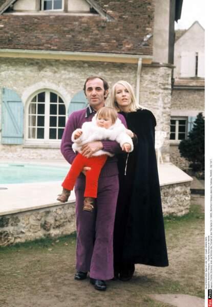 Charles Aznavour avec sa femme Ulla Thorsell et leur fille Katia