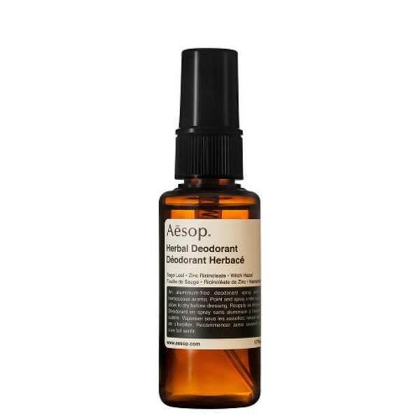 Déodorant Herbacé, Aesop, spray 50 ml, prix indicatif : 27 €