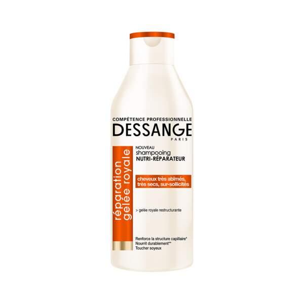 Shampooing Nutri-Réparateur Réparation Gelée Royale, Dessange, Flacon 250 ml, prix indicatif : 4,40 €