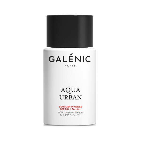 Aqua Urban - Bouclier Invisible SPF50+, Galénic, flacon 40 ml, prix indicatif : 35 €