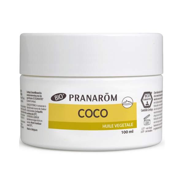 Huile Végétale de Coco Bio, Pranarôm, pot 100 ml, prix indicatif : 12,80 €