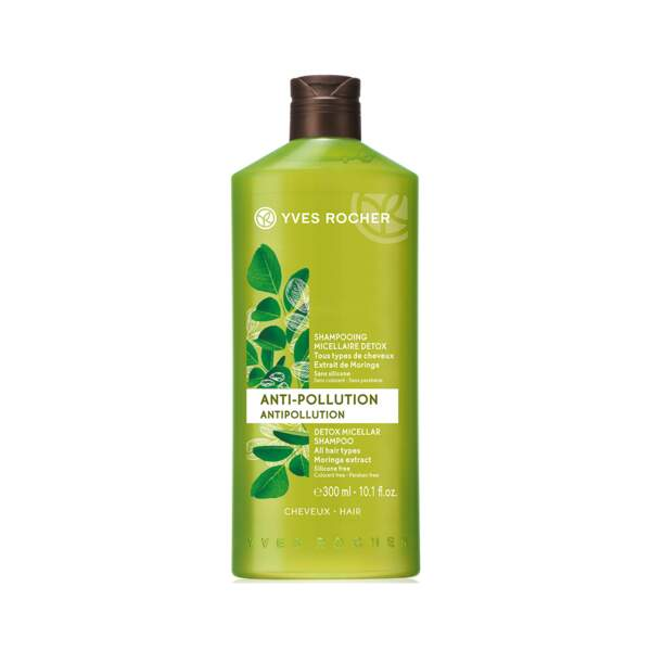 Anti-Pollution - Shampooing Micellaire, Yves Rocher, flacon 300 ml, prix indicatif : 4,90 €