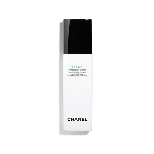 Lait Fraicheur d'Eau Anti-Pollution, Chanel, flacon-pompe 150 ml, prix indicatif : 38 €