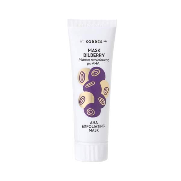 Masque Peeling aux Acides de Fruit de Myrtille, Korres. Tube 18 ml, prix indicatif : 8,90 €