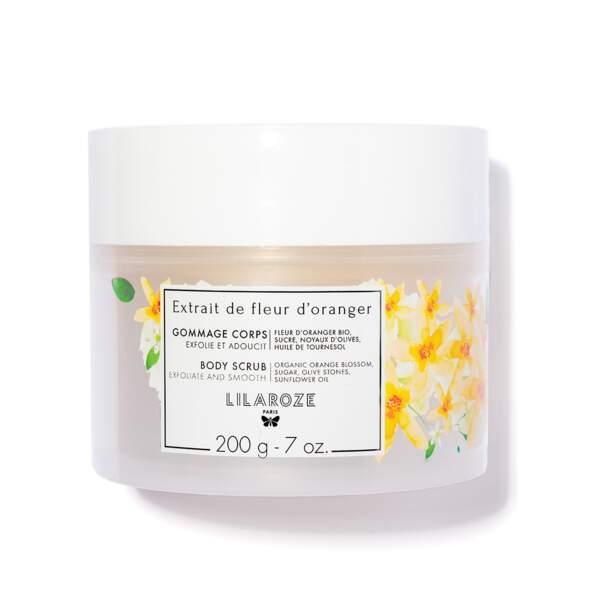 Extrait de Fleur d'Oranger - Gommage Corps, Lilaroze, pot 200 g, prix indicatif : 17,50 €