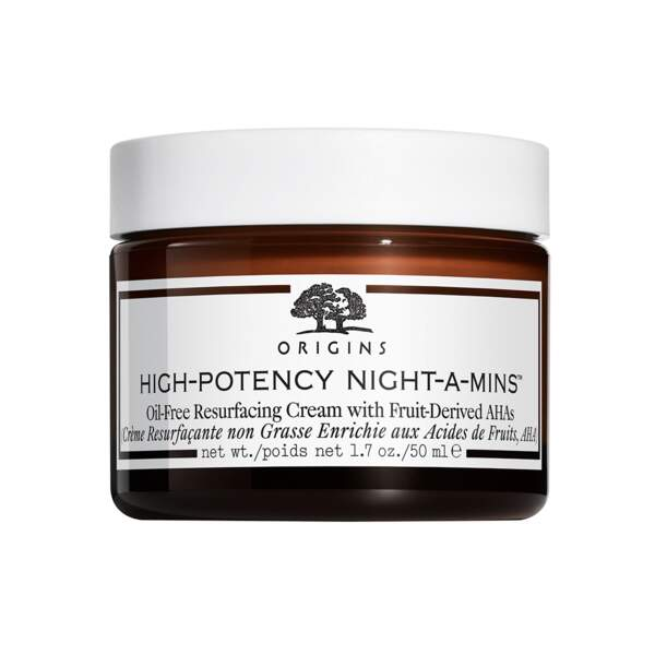 High-Potency Night-A-Mins - Crème Resurfaçante, Origins, pot 50 ml, prix indicatif : 45 €