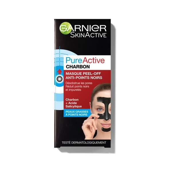 PureActive Charbon - Masque Peel-Off Anti-Points Noirs, Garnier, prix indicatif : 6,90 €
