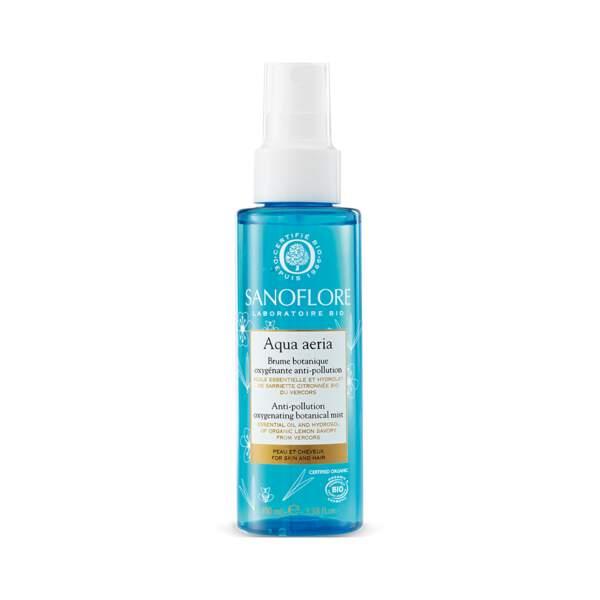 Aqua Aeria - Brume Botanique Oxygénante Anti-Pollution, Sanoflore, flacon 100 ml, prix indicatif : 27,50 €