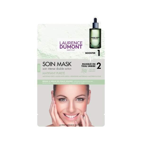 Soin Mask - Matifiant Pureté, Laurence Dumont, 2 unidoses + masque, prix indicatif : 5 €