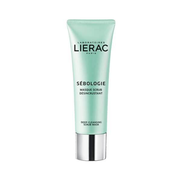 Sébologie - Masque Scrub Désincrustant, Laboratoire Lierac, flacon 50 mL, prix indicatif : 27,50 €