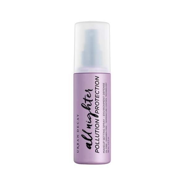 All nighter - Spray fixateur de Maquillage Protecteur Anti-Pollution, Urban Decay, prix indicatif : 29,50 €