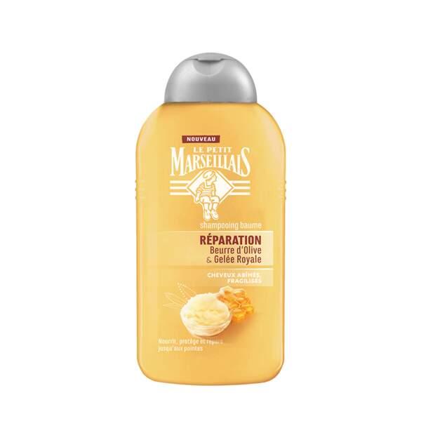 Shampooing Baume Beurre d'Olive et Gelée Royale, Le Petit Marseillais, flacon 250 ml, prix indicatif : 2,50 €