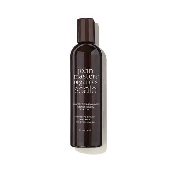 Shampoing Stimulant Menthe Poivrée et Reine-des-prés, John Masters Organics, flacon 236 ml, prix indicatif : 23€