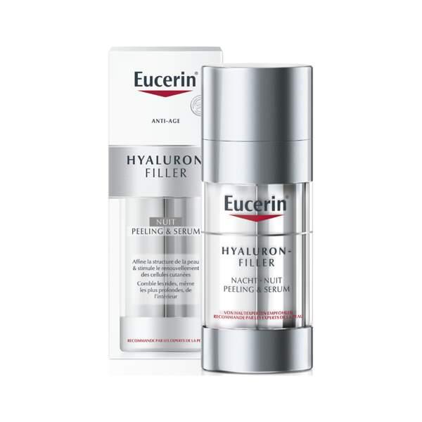 Hyaluron Filler - Nuit Peeling et Serum, Eucerin, flacon 30 ml, prix indicatif : 38 €