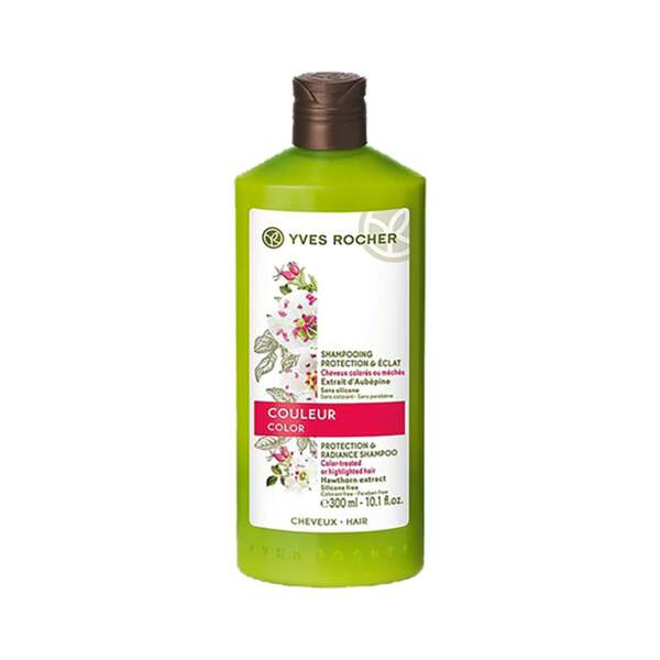 Couleur - Shampooing Protection & Éclat, Yves Rocher, flacon 300 ml, prix indicatif : 4,90 €