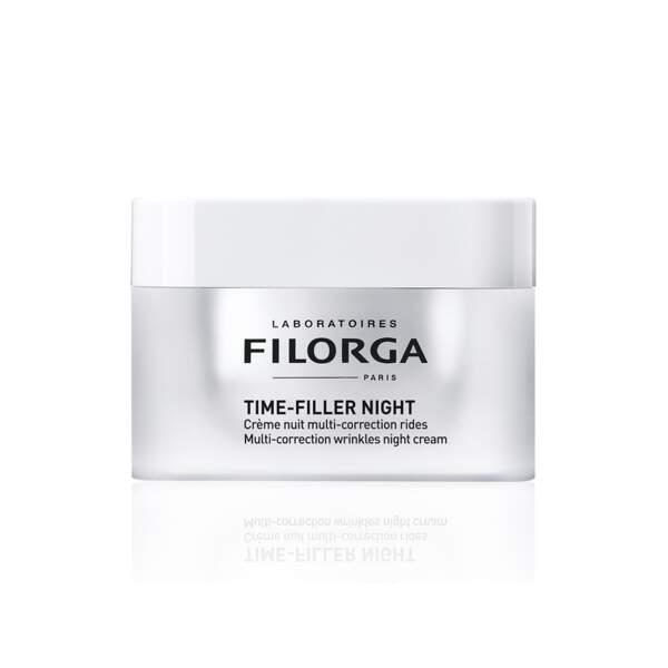 Time Filler Night - Crème Nuit Multi-Correction Rides, Filorga, pot 50 ml, prix indicatif : 59,90 €