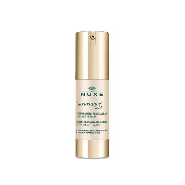 Nuxuriance Gold - Sérum Nutri-Revitalisant, Nuxe, flacon-pompe 30 ml, prix indicatif : 65 €