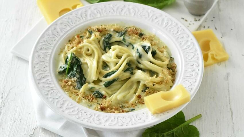 Spaghettis à la crème d'Emmental de Savoie I.G.P. et aux épinards