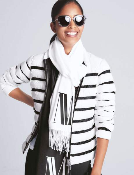 Trendy şişme ceket: çizgili