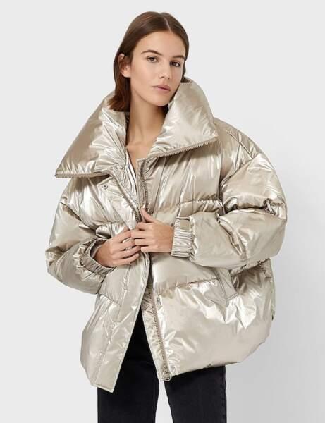 Trendy şişme ceket: metalik