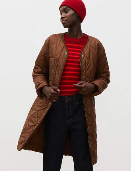 Trendy şişme ceket: V yaka