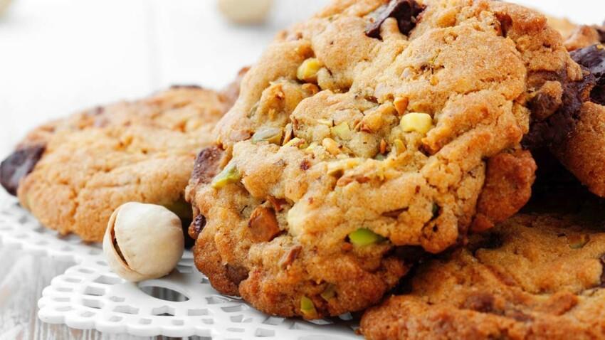 Cookie aux pistaches, amandes et pépites de chocolat