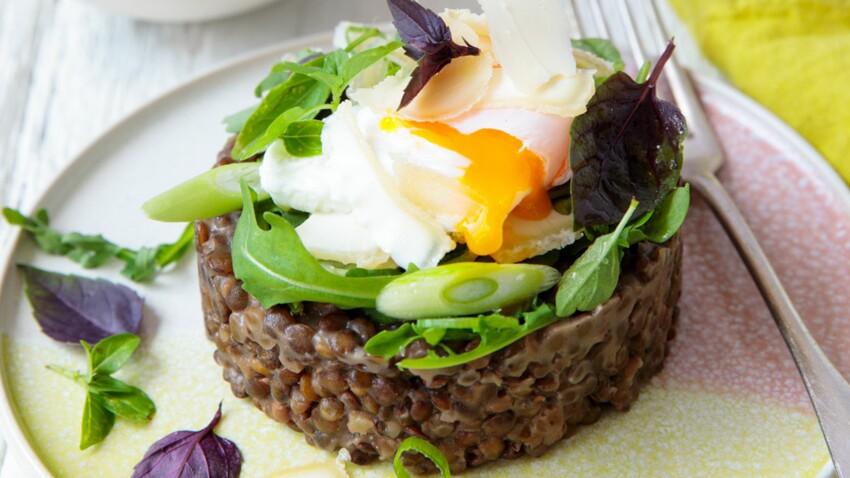 Risotto de lentilles vertes, parmesan, échalotes, coriandre et œuf poché