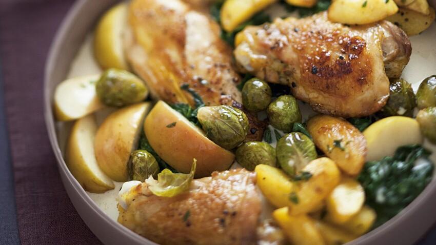 Sauté de poulet aux pommes et petits choux