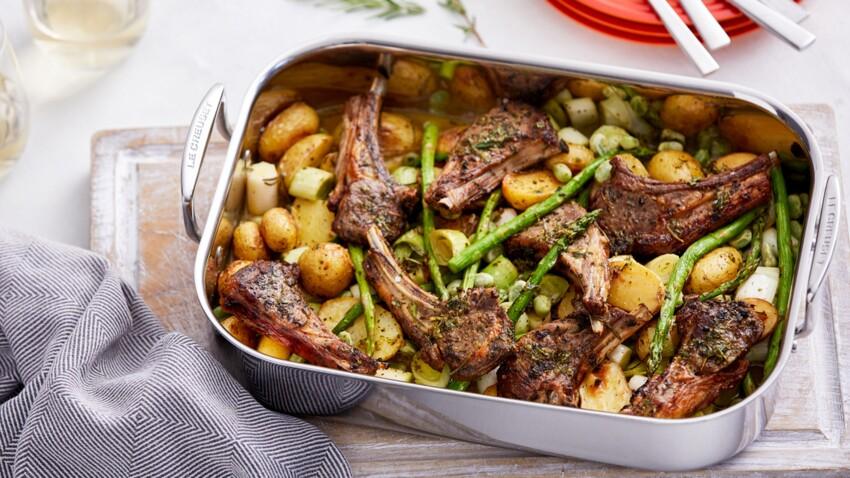 Agneau aux légumes printaniers, sauce à la menthe
