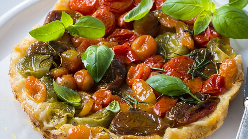 Tatin de tomates tricolores