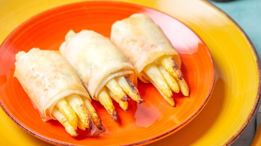 Fagots d'asperges blanches croustillants au saumon