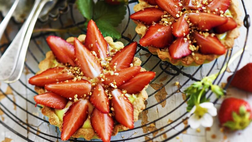 Tartelettes aux fraises et pralin
