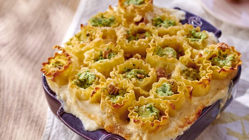 Lasagnes roulées au brocoli et aux noix