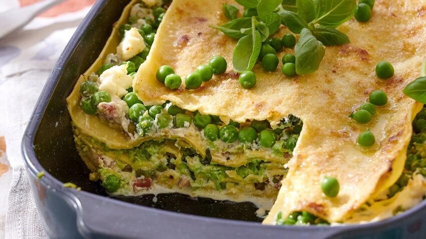 Lasagnes aux petits pois, pancetta et fromage frais